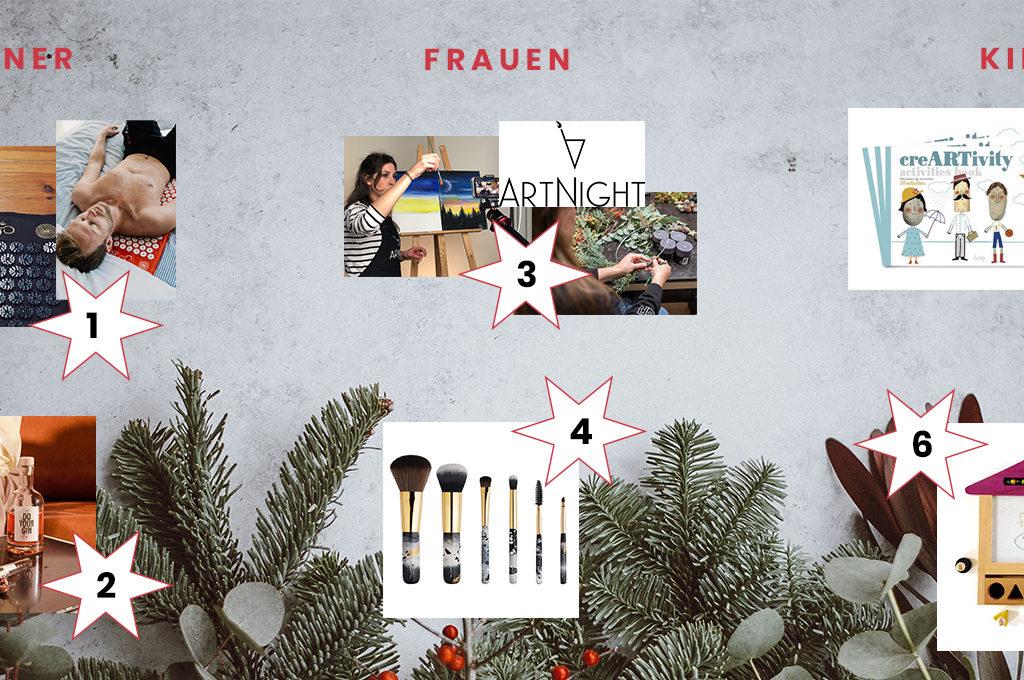 weihnachtlicher Hintergrund mitjeweils zwei Produkt Bildern für Männer frauen und kinder
