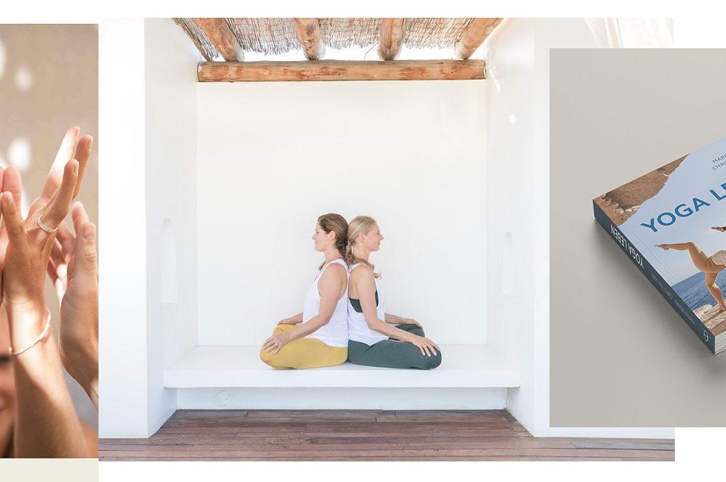 4 frauen Hände zwei Frauen Rücken an Rücken Buch Yoga leben