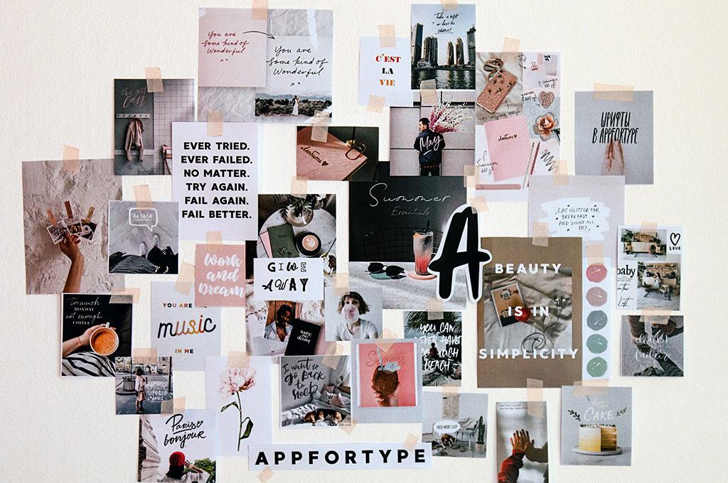 weiße wand mit quptes und Bildern zu einer collage geklebt