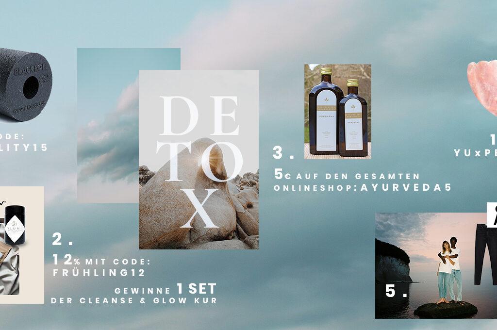 5 ausgewählte Produkte zum Thema Detox. Die Blackroll, Ylumi Cleanse and Flow Kur, Gundasha Öl Parksclösschen Ayurveda, Guasha Stein Yu BBeuaty, Armedangels Detoc Denim