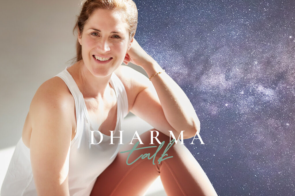 Christina Lobe mit Dharma Talk Schriftzug