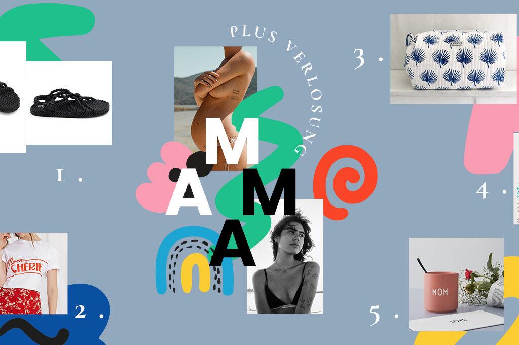 eine Kollage mit 5 unterschiedlichen Mama-Produkten und bunten Illustrationen im Hintergrund.