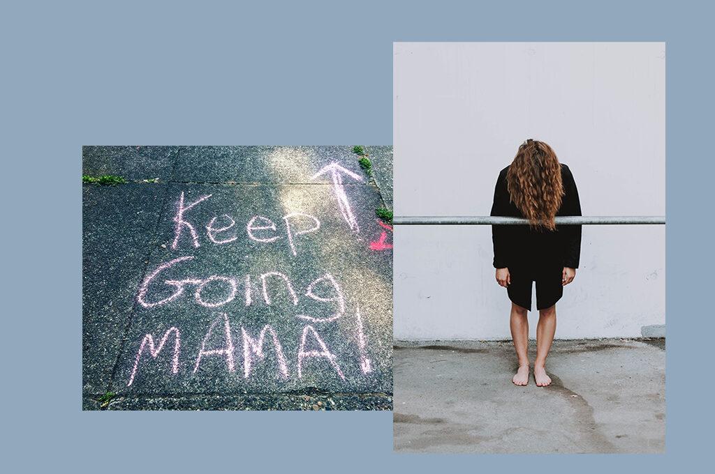 auf blauem Hintergrund ein Foto mit Kreide Keep Going Mama auf die Straße geschrieben und ein Foto einer Frau die sich die haare ins Gesicht fallen lässt