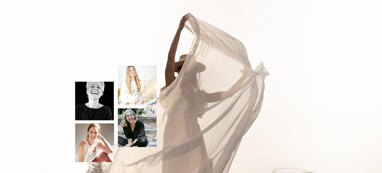 eine Frau mit einem wehenden Tuch im Hintergrund. Darauf Bilder von Marion Müller, Nicki Esser, Silja Mahlow und Christina Lobe