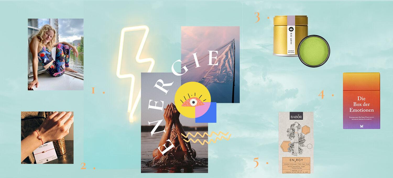 unsere 5 Lieblings-Produkte zum Thema Energie. Yoga Leggings von Pitaya, Pia Norden Armband, Matcha von Sunday Natural, Box der Emotionen, Babor Energy Ampullen