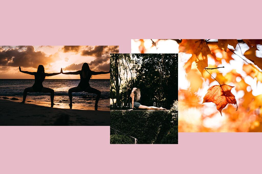 Collage aus Yoga Bildern und Herbst Blättern