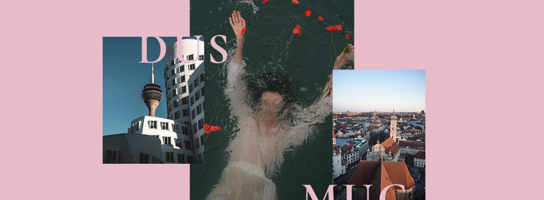 Collage aus 3 Bildern: düsseldorf, München und eine Frau die im Wasser taucht