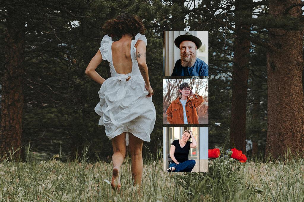 eine Frau in weissem Kleid auf rennt auf einer Wiese. ALs Collage Bilder von Renè Träger, Tatjana Reichert und Svenja Gräfen